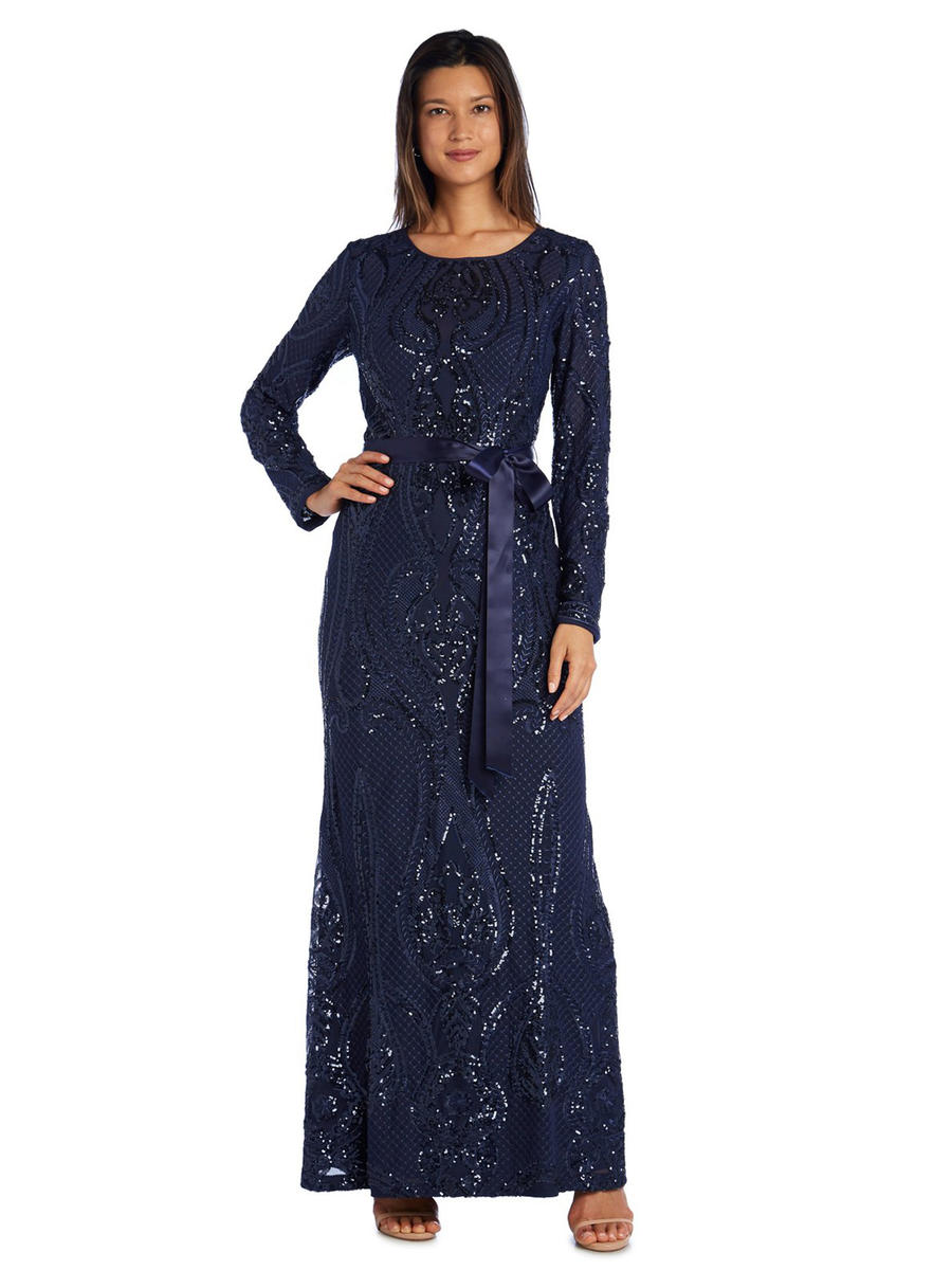 R & M Richards - Long Sleeve Embroidery Sequin Gown