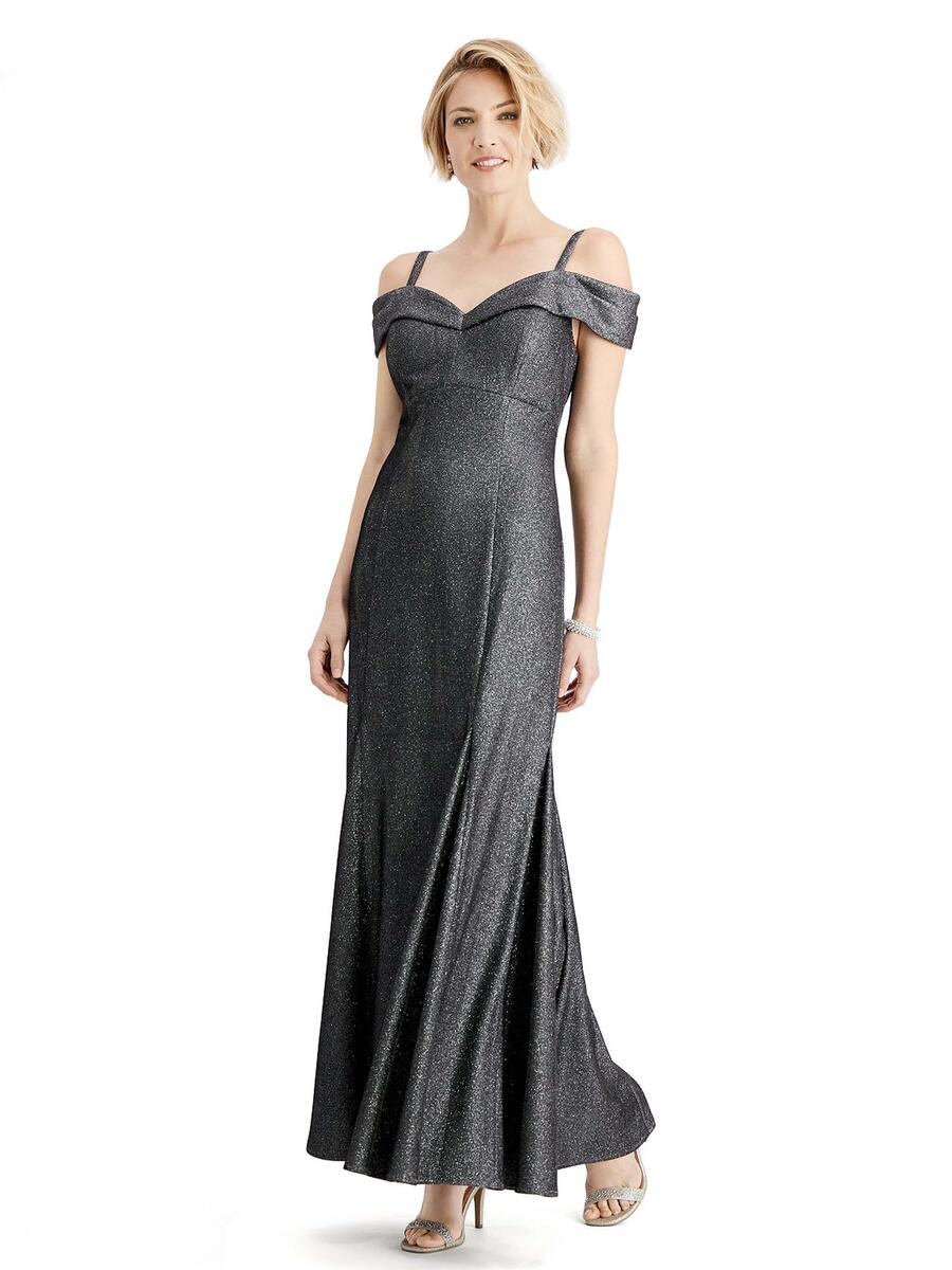 R & M Richards - Satin Metallic Gown Off The Shoulder