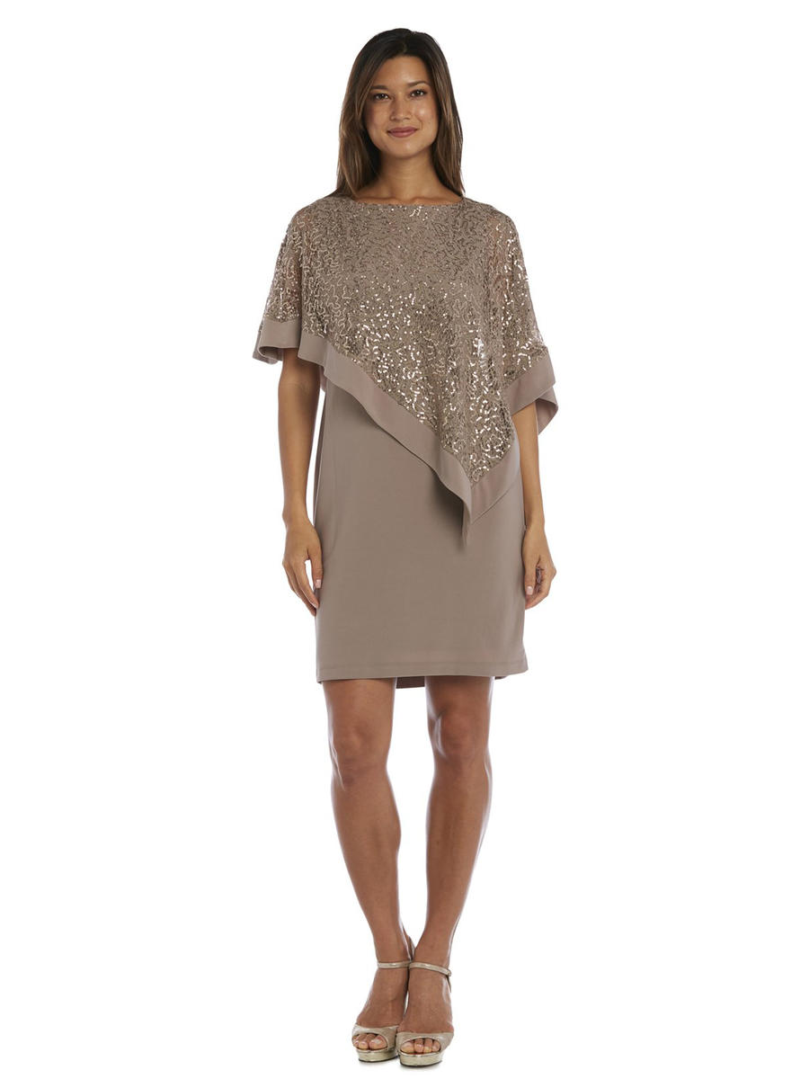R & M Richards - Sequin Lace Overlay Dress