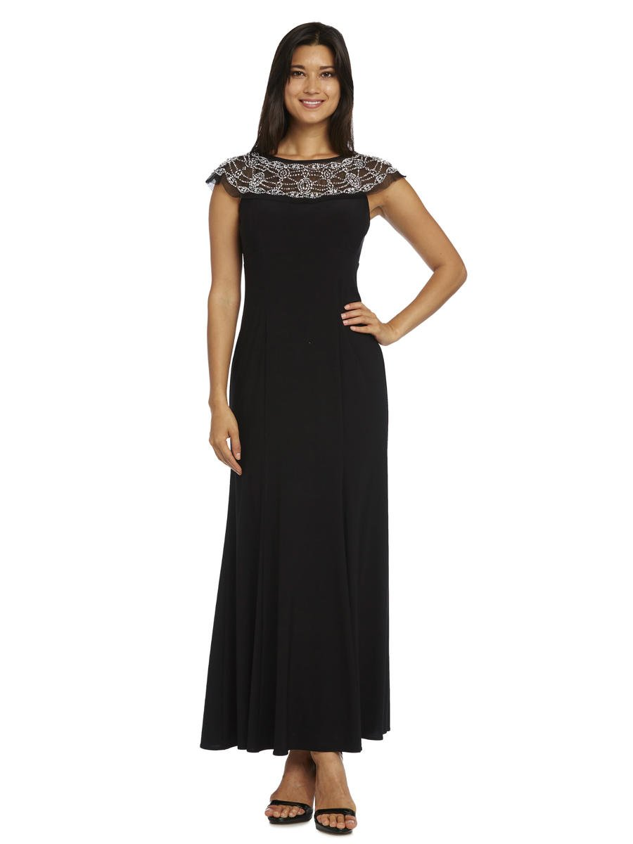R & M Richards - Beaded Neckline Jersey Gown