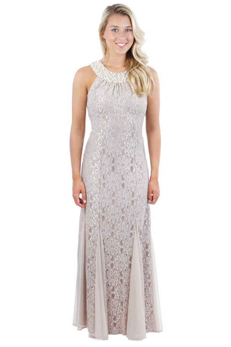 R & M Richards - Beaded Halter Lace Gown