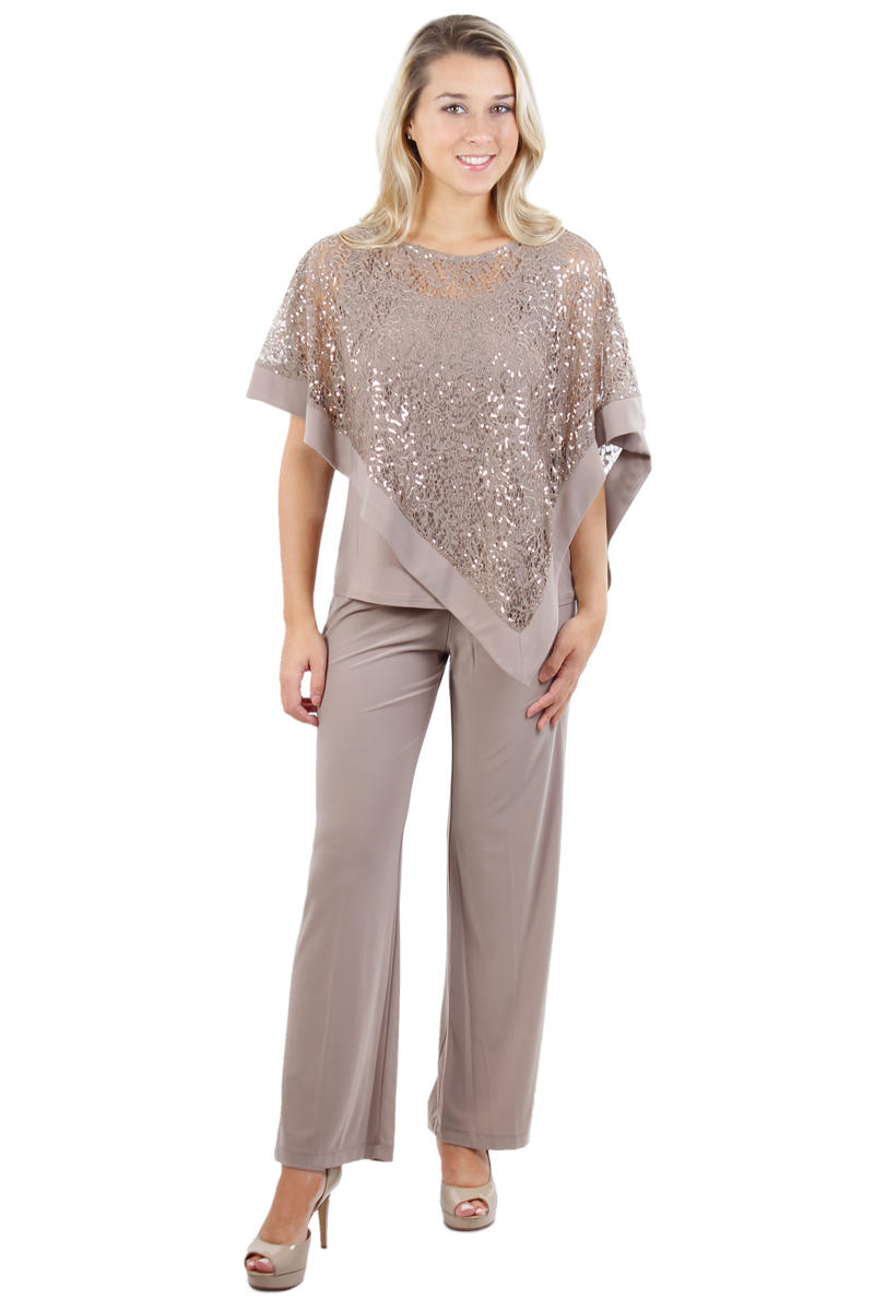 R & M Richards - Two Piece Pant Set Mock Sequin Top