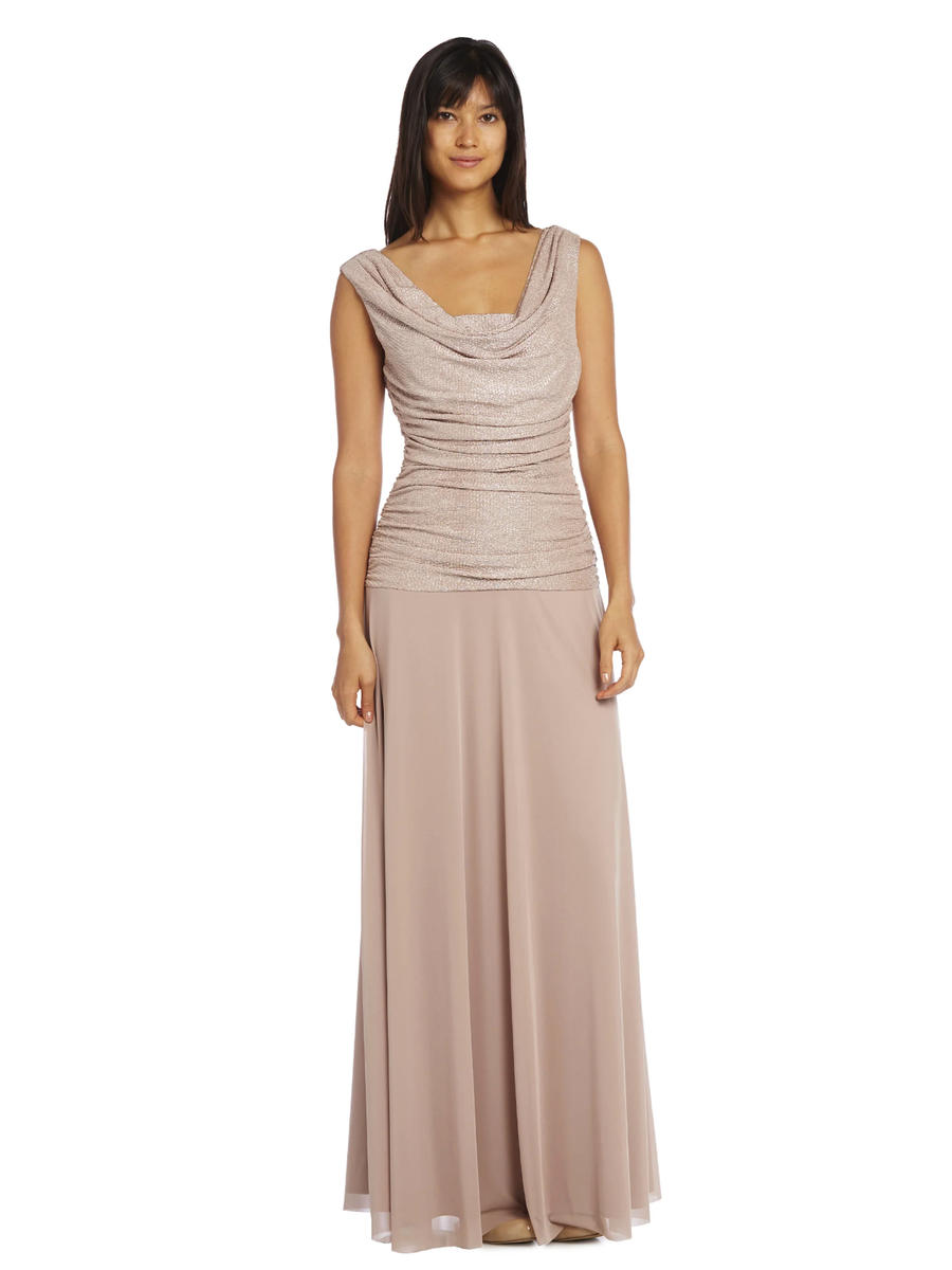 R & M Richards - Ruched Metallic Chiffon Popover Dress
