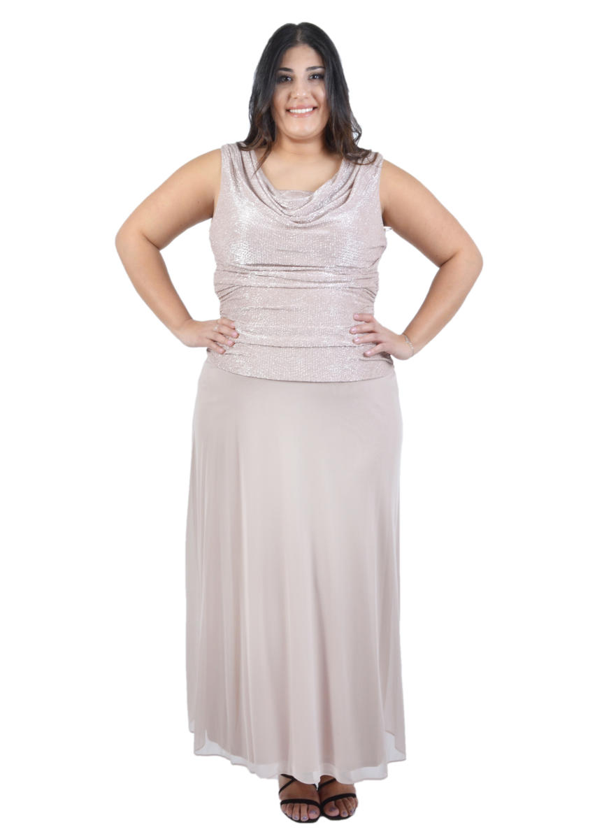 Ruched Metallic Chiffon Popover Dress