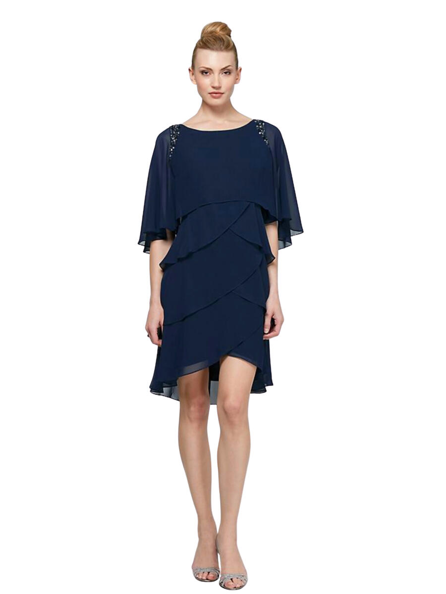 SALLY LOU - Jersey Cape Beaded Trim Dress