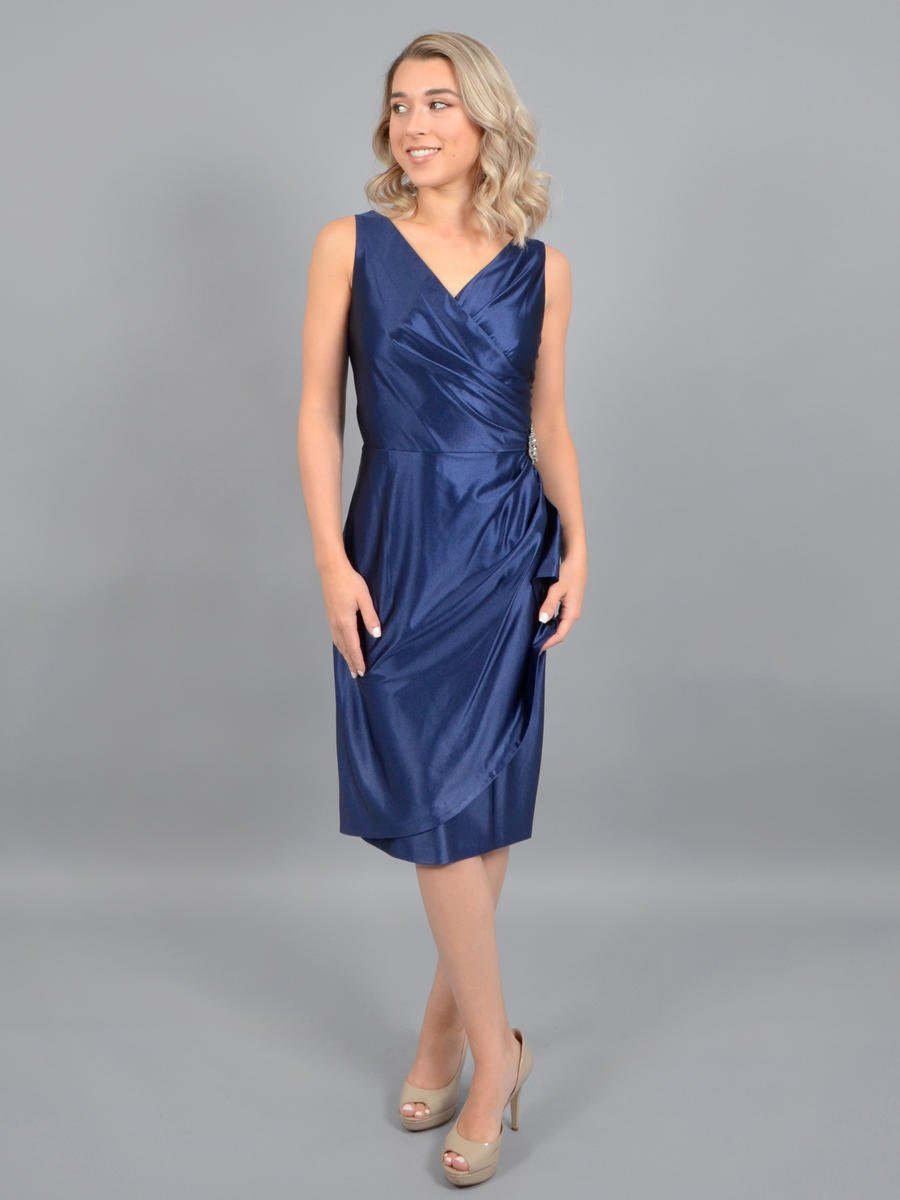SALLY LOU - Satin Beaded Wrap Waist Dress
