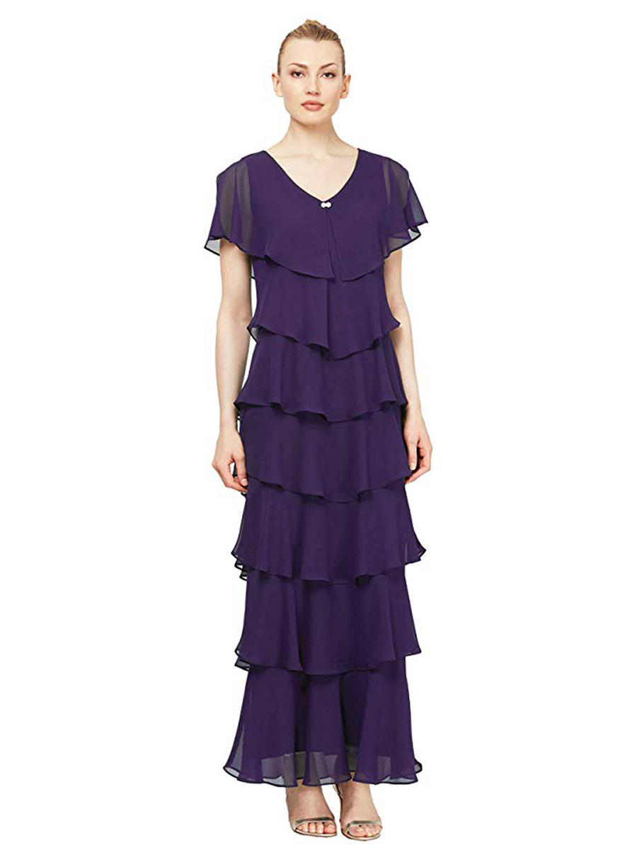 SALLY LOU - Jersey Short Sleeve Gown