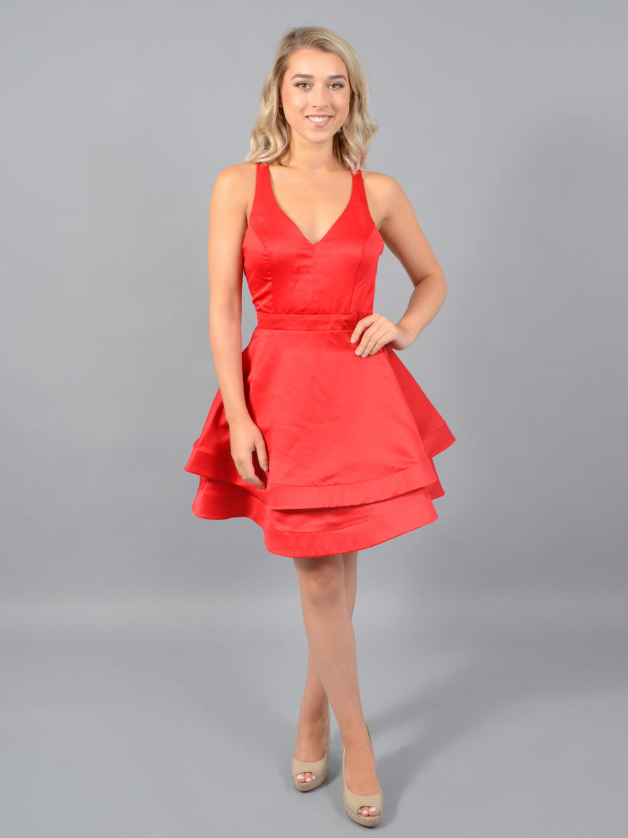 CITY TRIANGLES - Satin Dress-Open Bow Back
