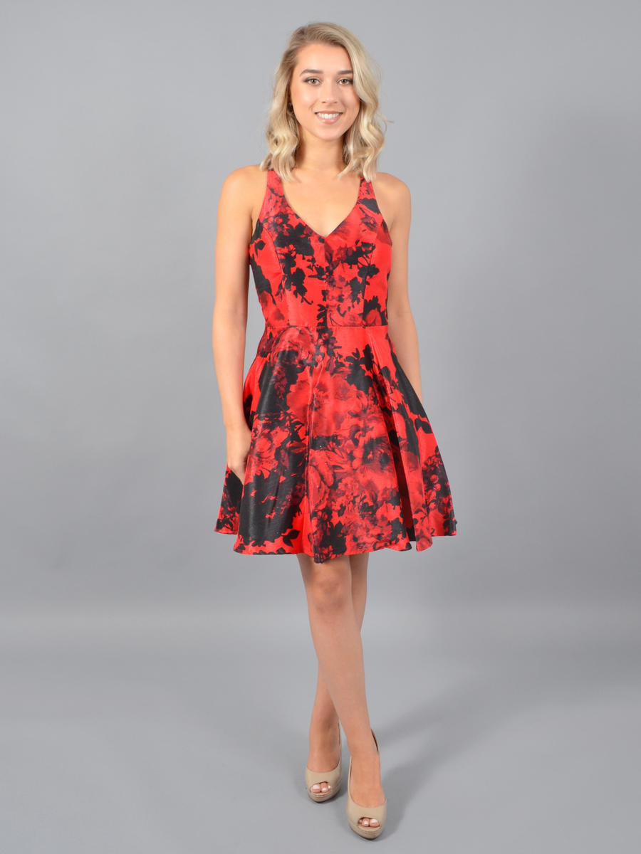 CITY TRIANGLES - Satin Print Dress-Back Bow