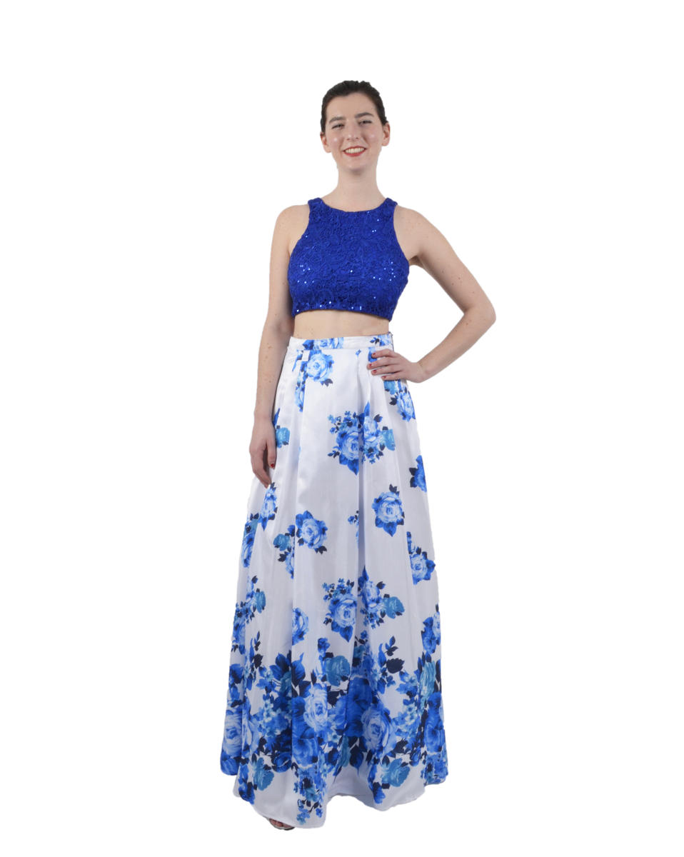 2 Piece Print Long Skirt Lace Midriff