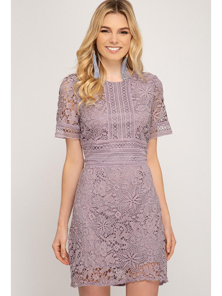 SHE AND SKY - Short Sleeve Embroidered Dress