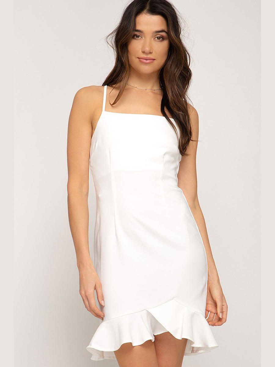 SHE AND SKY - Spaghetti Strap Ruffled Hem Dress