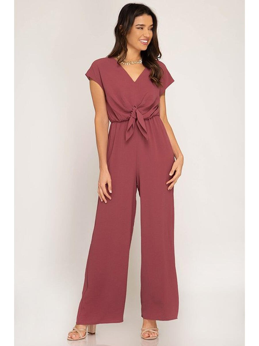 SHE AND SKY - Chiffon Cap Sleeve Jumpsuit
