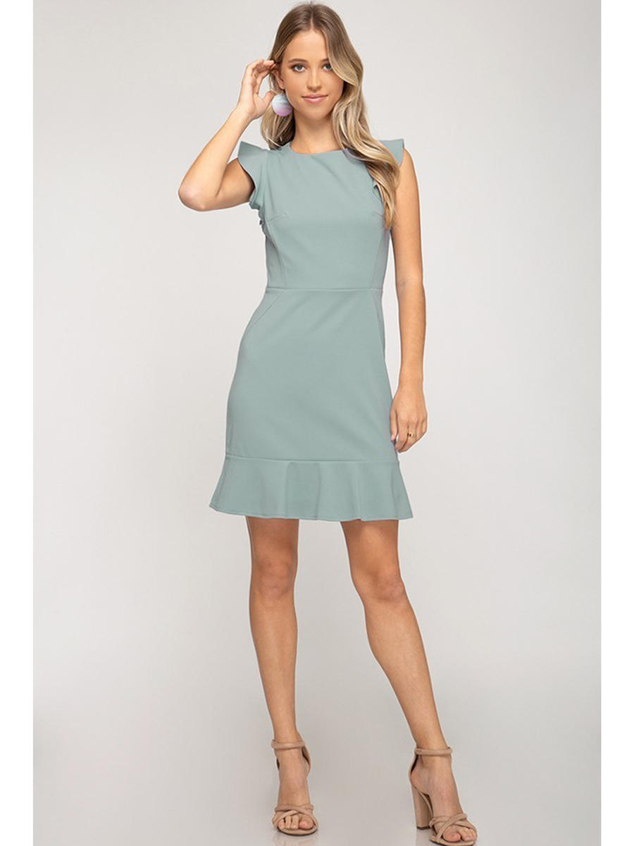 SHE AND SKY - Short Sleeve Flare Dress