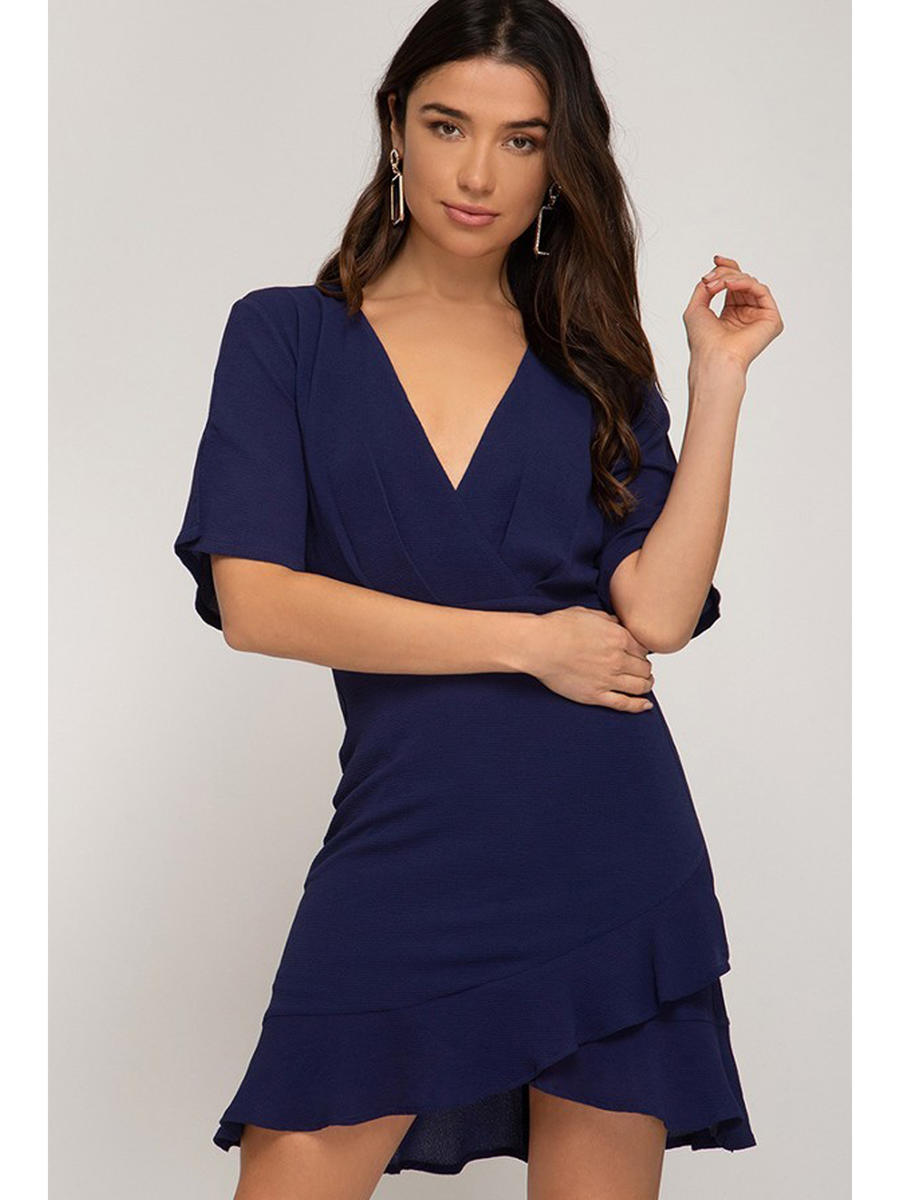 SHE AND SKY - Short Sleeve Wrap Dress
