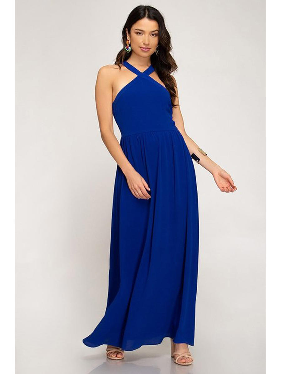SHE AND SKY - Georgette Halter Gown