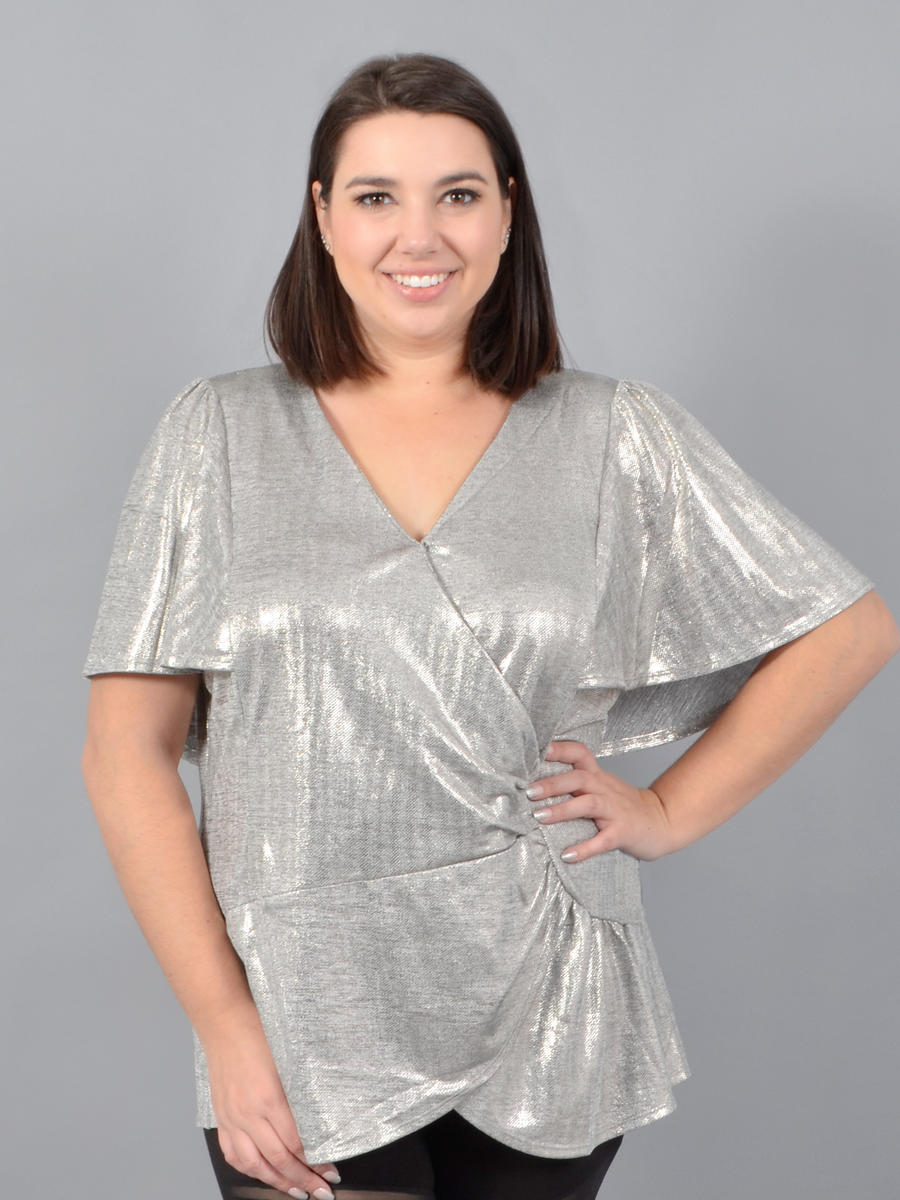 Skies Are Blue - Short Sleeve Satin Metallic Wrap Top