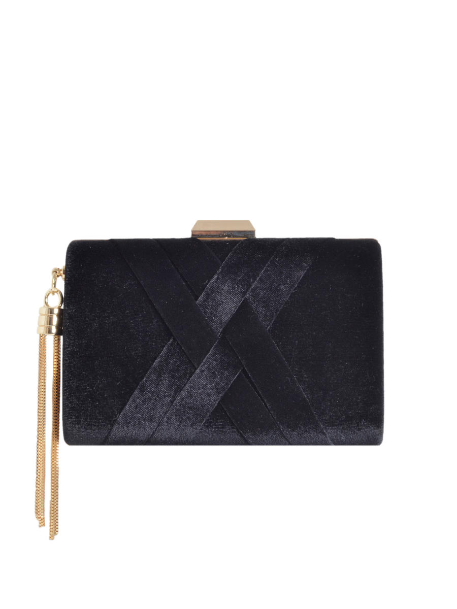 SONDRA ROBERTS/BECARRO INTCORP - Box Clutch Pleated Velvet Crisscross Overlay