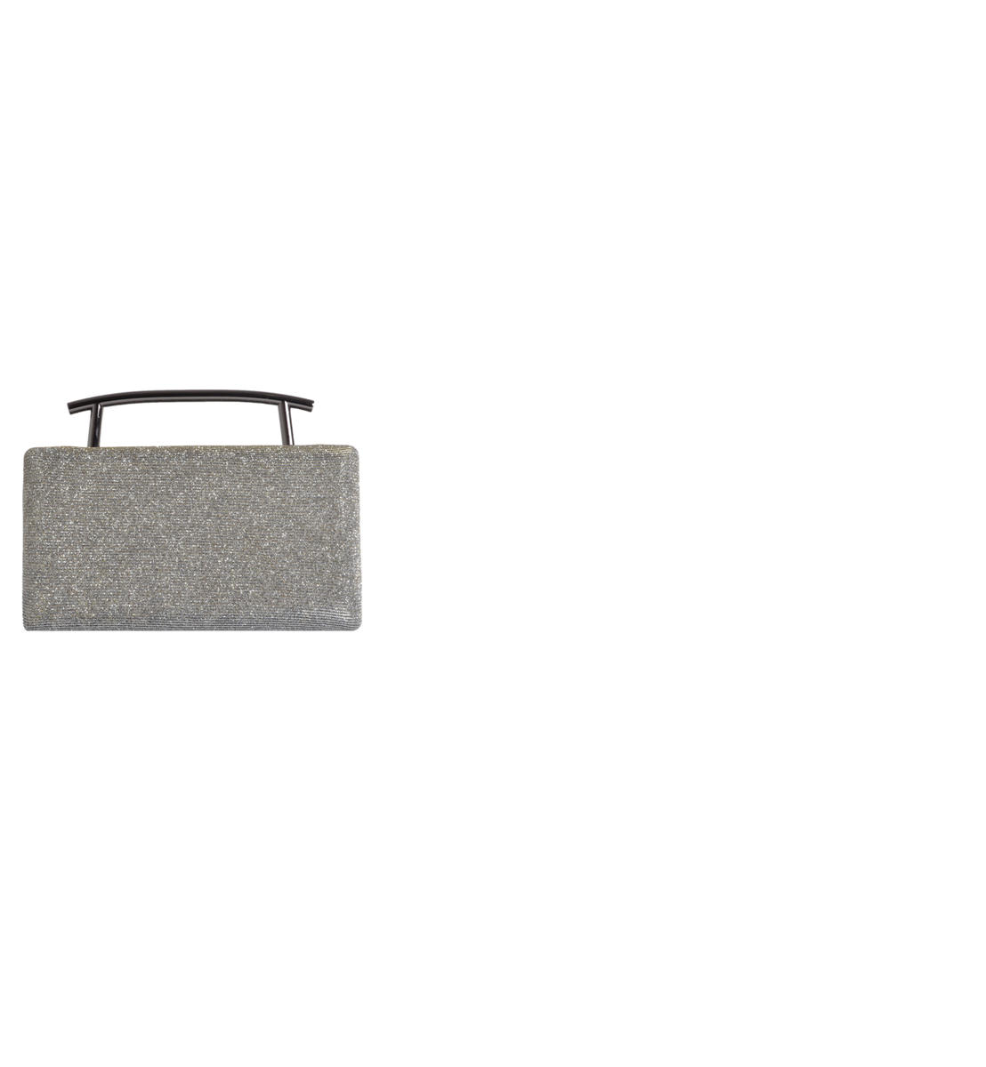 Metal Handle Box Clutch Glitter