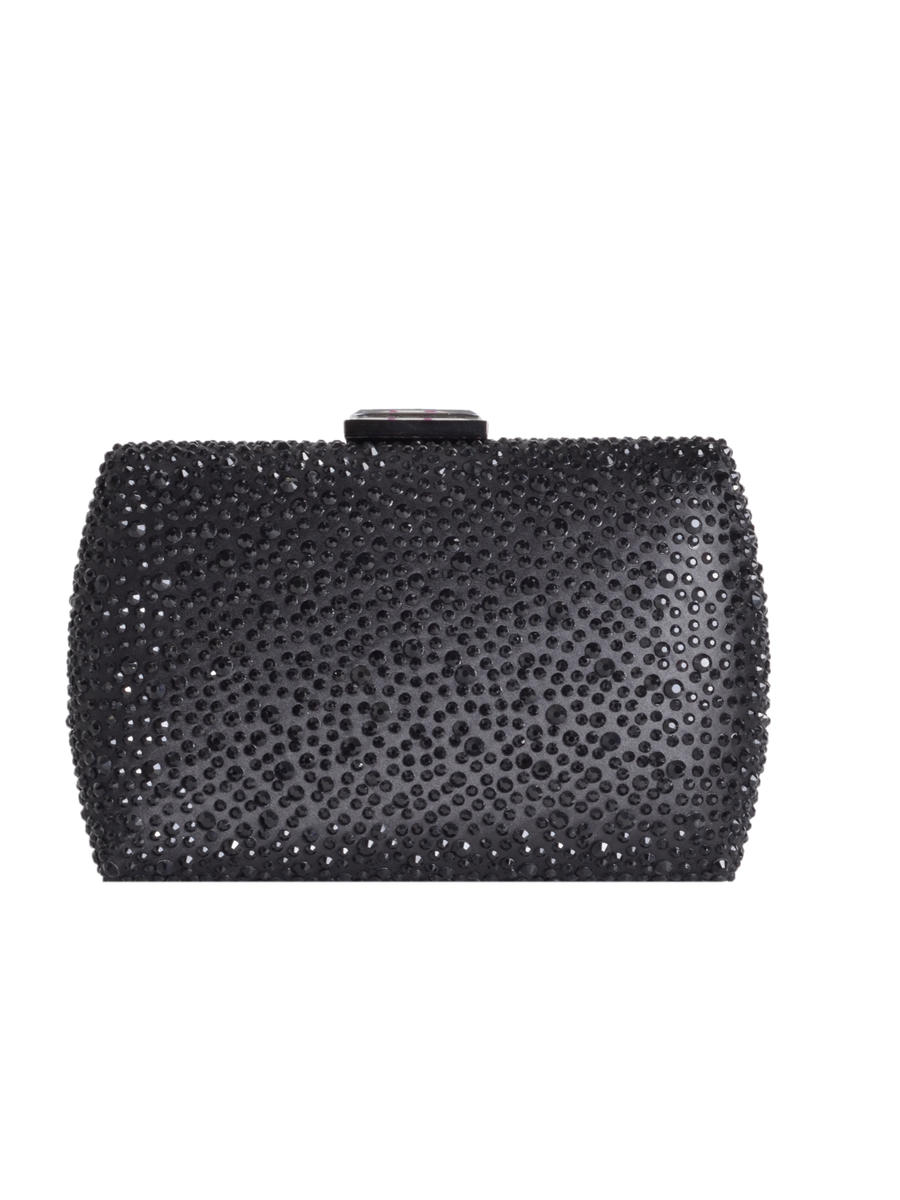 SONDRA ROBERTS/BECARRO INTCORP - Box Clutch Stone Embellished Satin Facetted