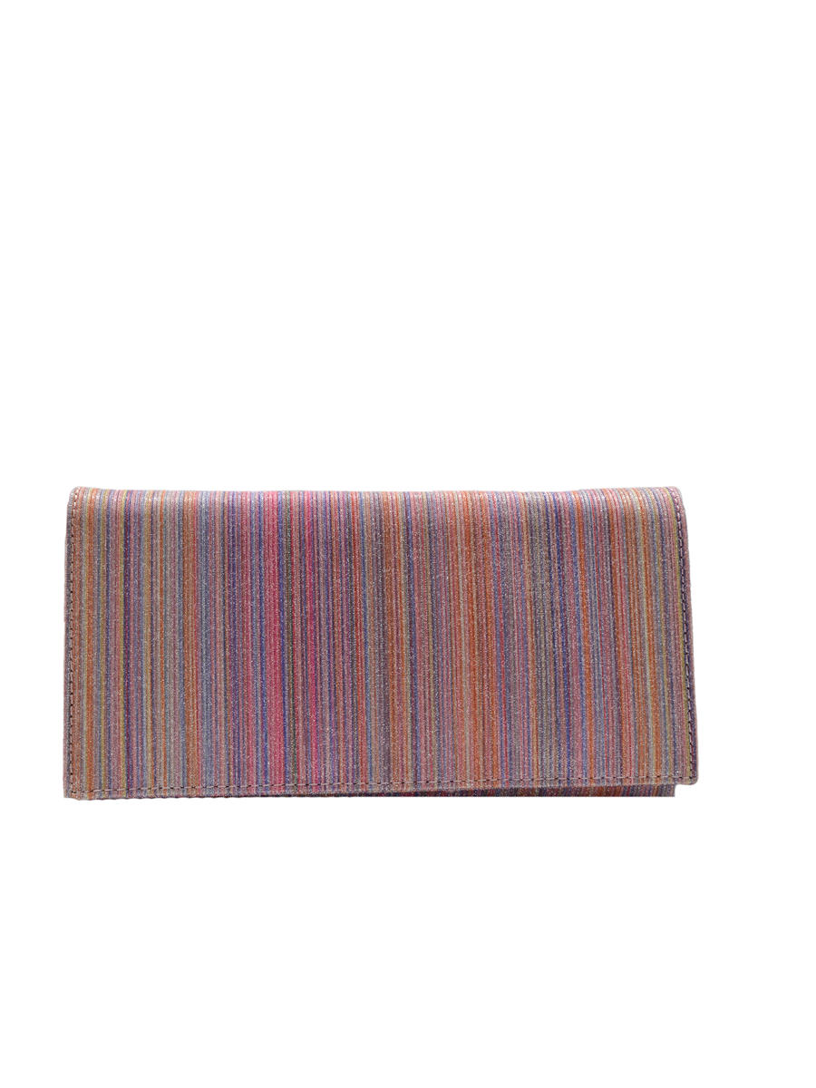 SONDRA ROBERTS/BECARRO INTCORP - Flap Clutch Striped Glitter Fabric