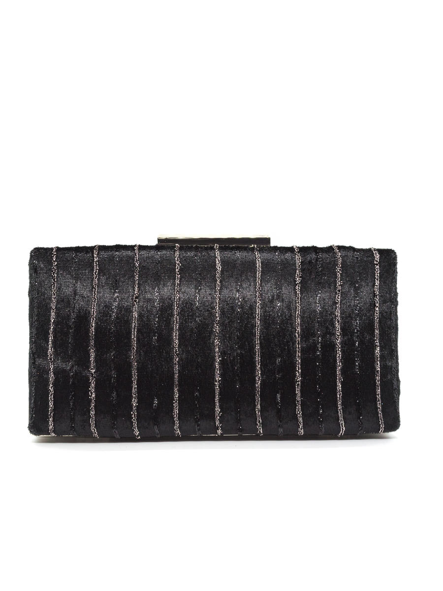 SONDRA ROBERTS/BECARRO INTCORP - Velvet Clutch With Metallic LInes