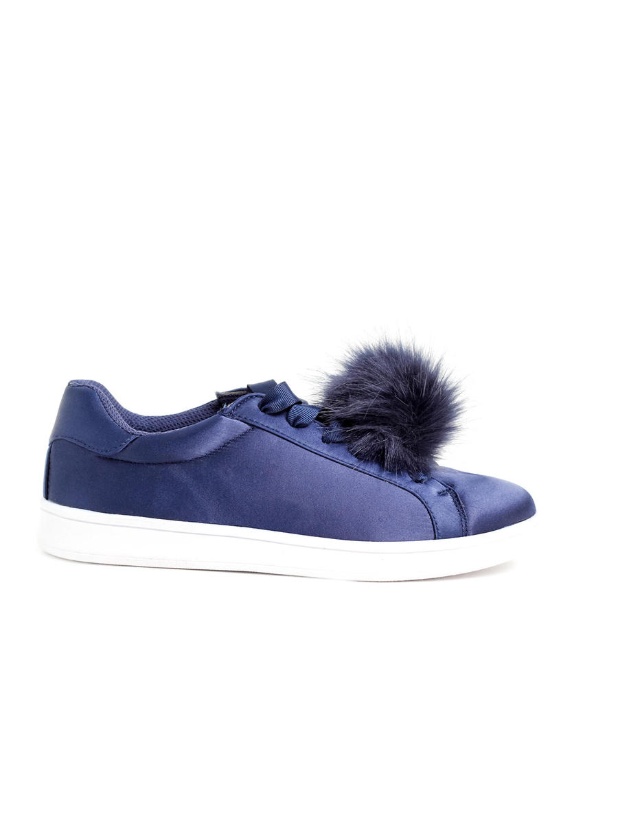 MADDEN GIRL             (STEVE MADDEN) - Satin Lace-Up Pom Pom Sneaker
