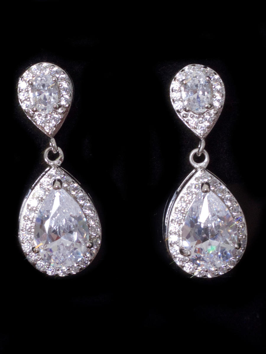 STYLE BY SOPHIE INC. - Cubic Zirconia Pear Cut Drop Earrings