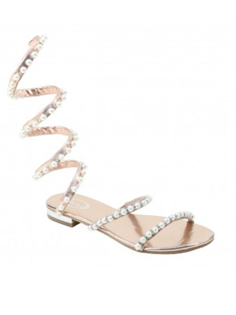 SUMMER RIO          Nancy - Flat Spiral Sandal with Pearls