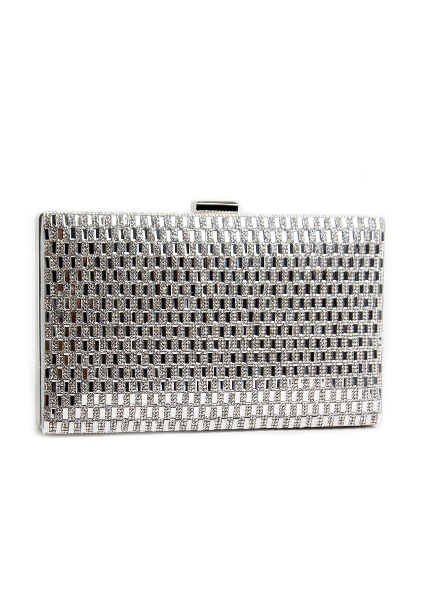 Embellished Mirror Hard Frame Clutch