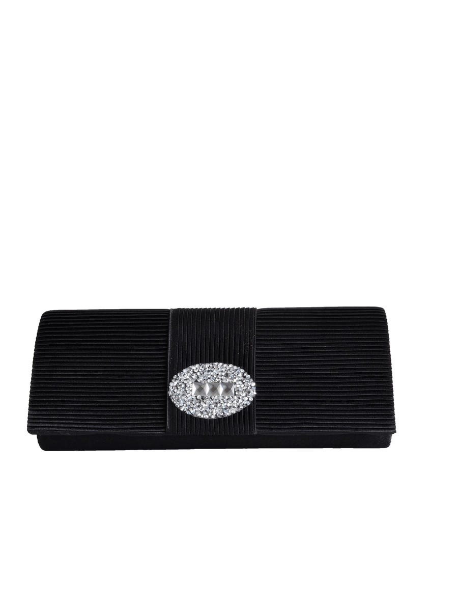 SUSAN SCHERTZ - Pleated Clutch w/Rhinestone Brooch