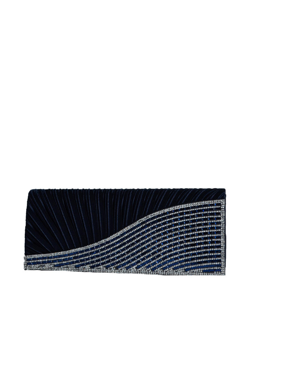 SUSAN SCHERTZ - Clutch Pleated Rhinestone Flap Dressy Bag