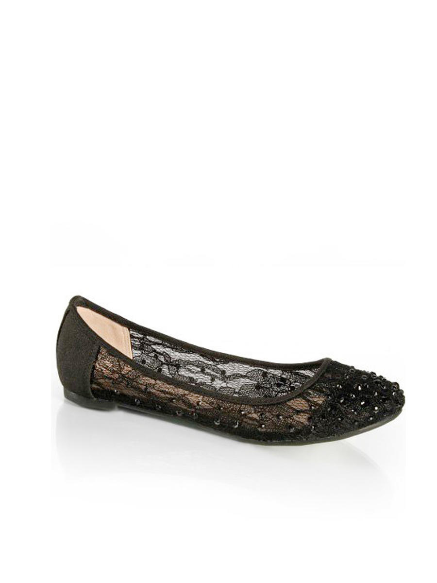 SWEETIES SHOE COLLECTION - Embellished Lace Ballet Flat