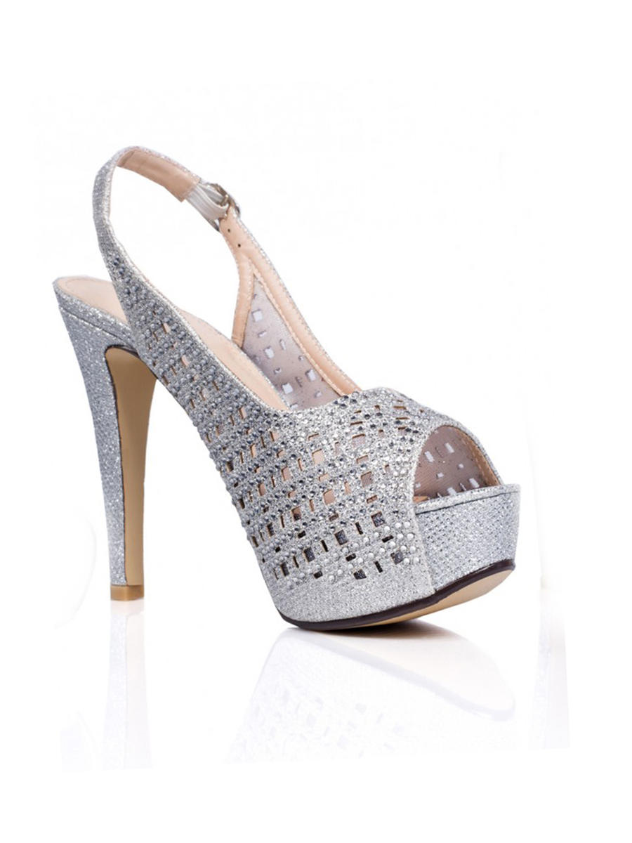 SWEETIES SHOE COLLECTION - Glitter Mesh Slingback Platform