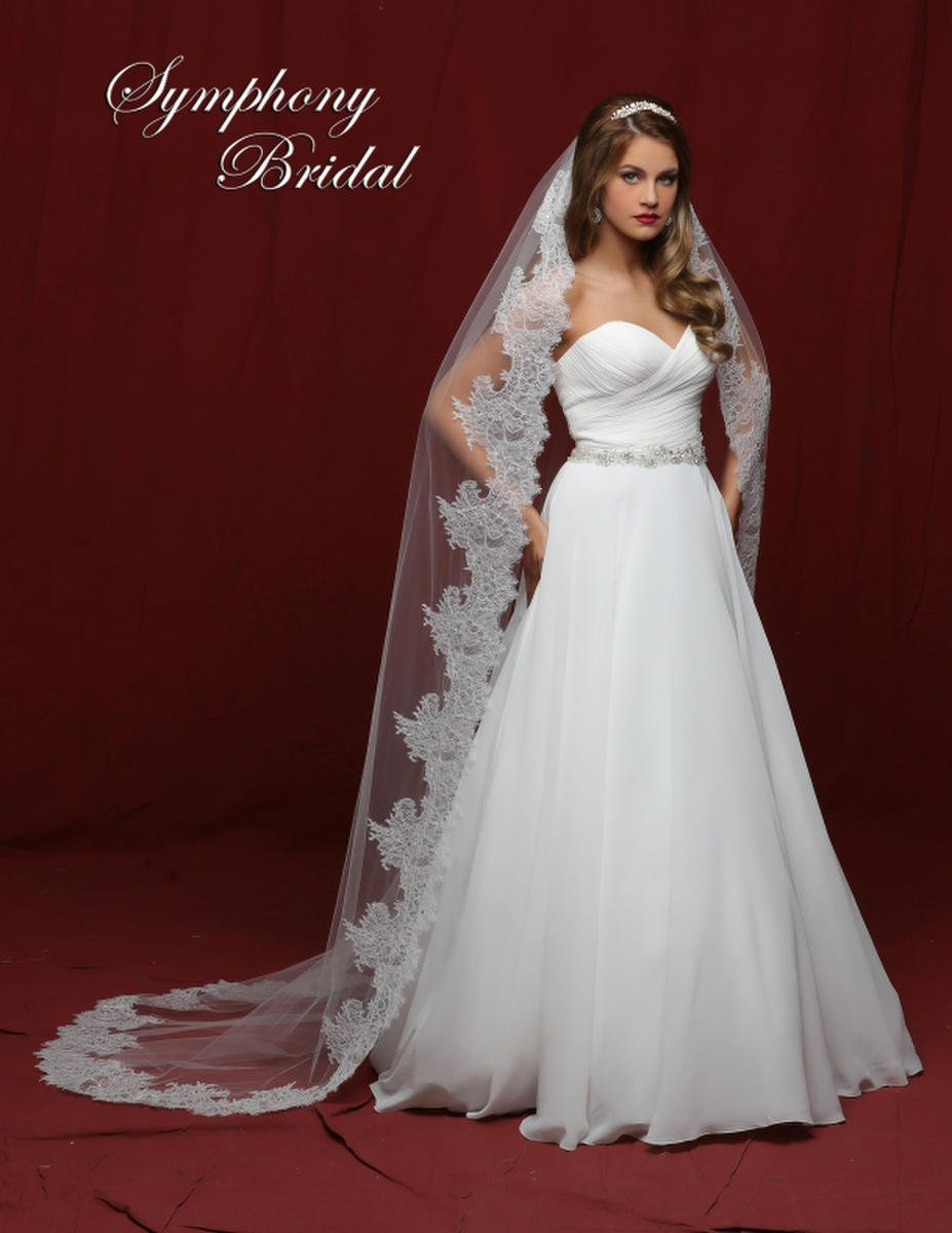 Symphony Bridal - 1 TIER CATHEDRAL VEIL W BEADED EDGE