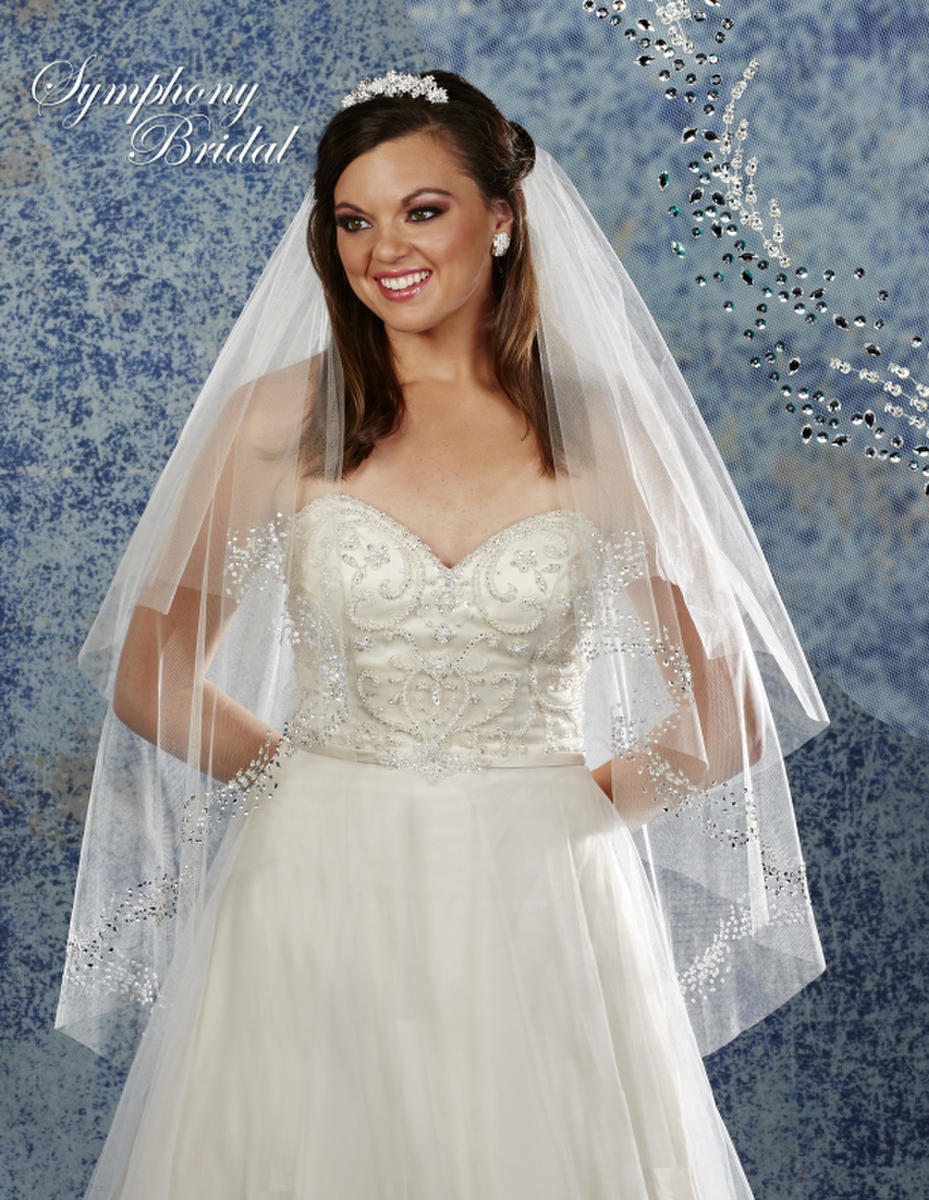 Symphony Bridal - FOLDOVER VEIL ON THE COMB