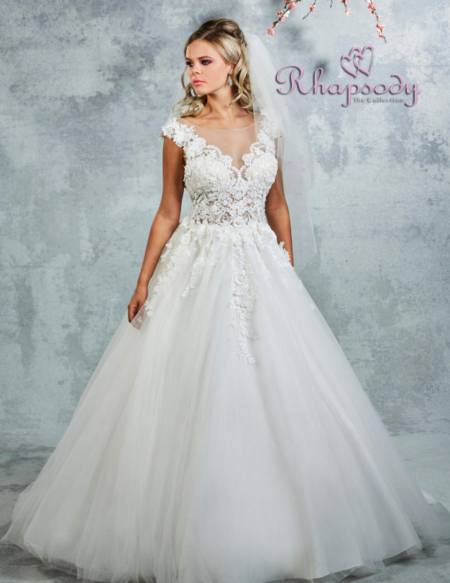 Symphony Bridal - Lace Tulle V-Neck Bridal Gown