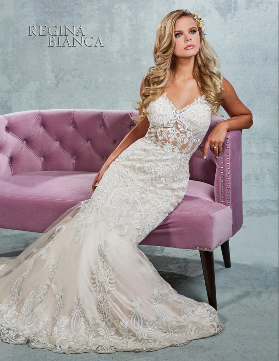 Symphony Bridal - Lace & Satin V-Neck Bridal Gown