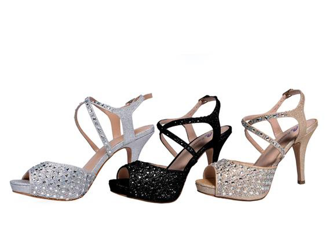 SWEETIES SHOE COLLECTION - Strappy Rhinestone Peep-Toe Pump