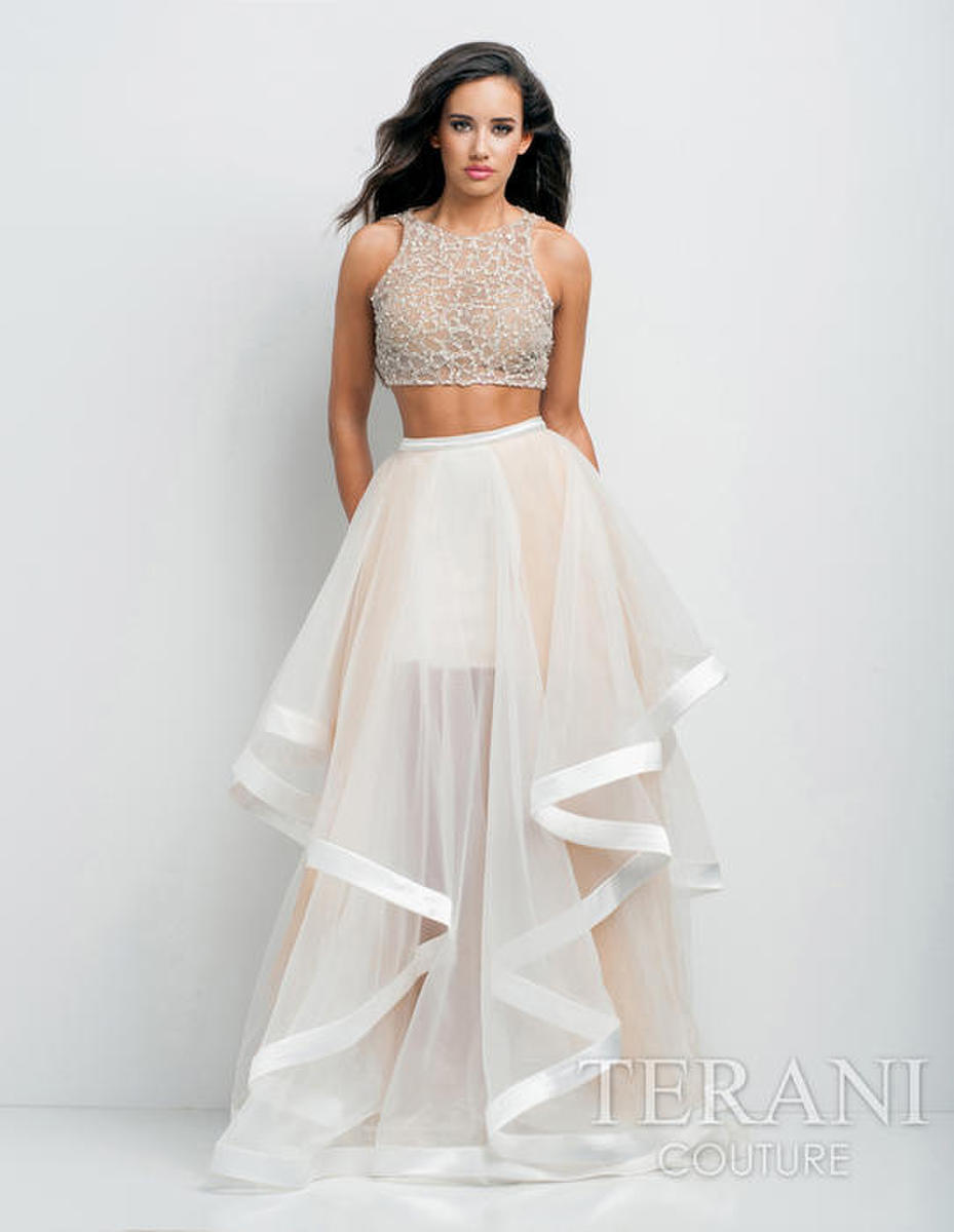 Beaded Two Piece Ruffled Tulle