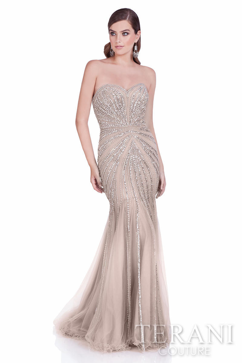 Terani - Strapless Beaded Mermaid Gown