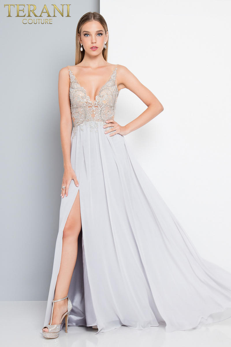 Chiffon Gown Beaded Embroidered Bodice