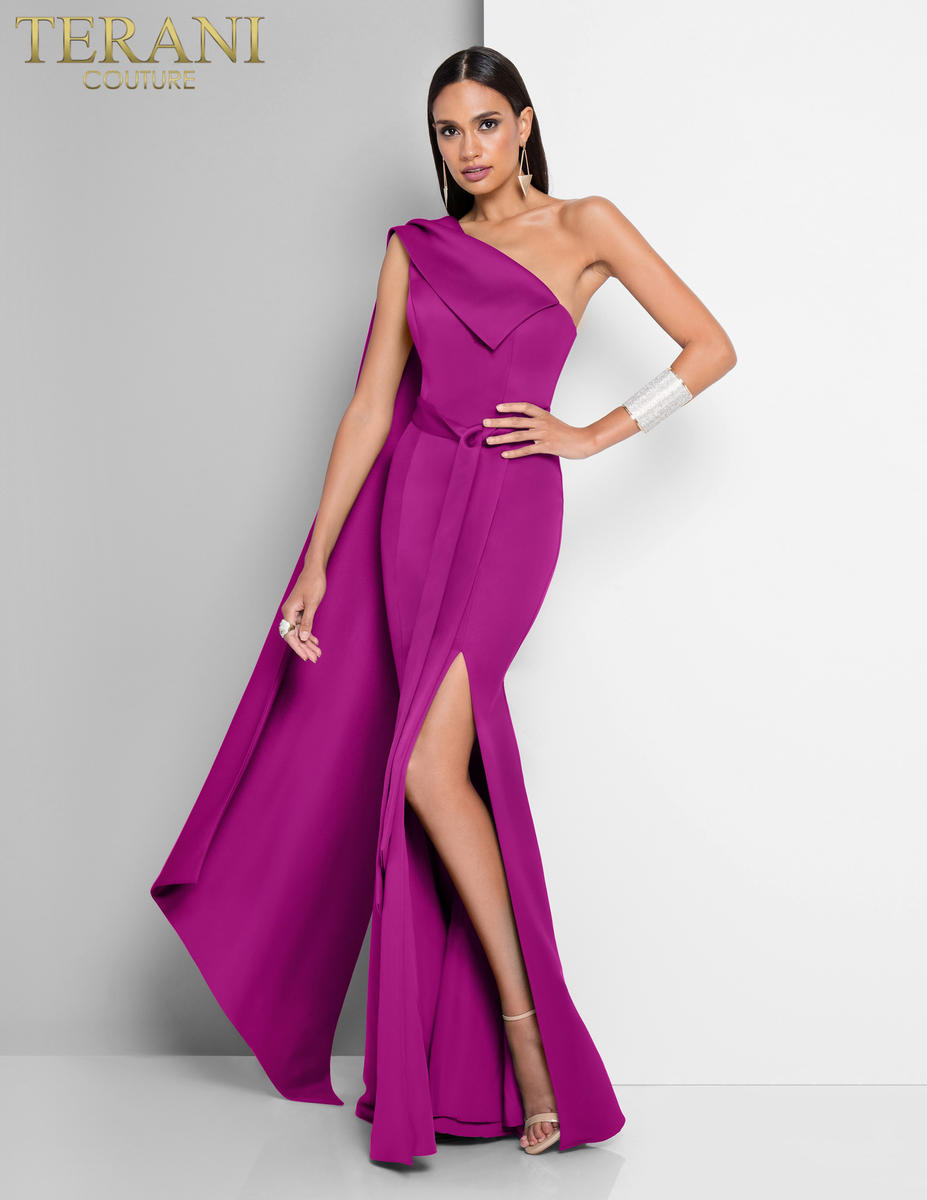 Terani - One Shoulder Crepe Dress