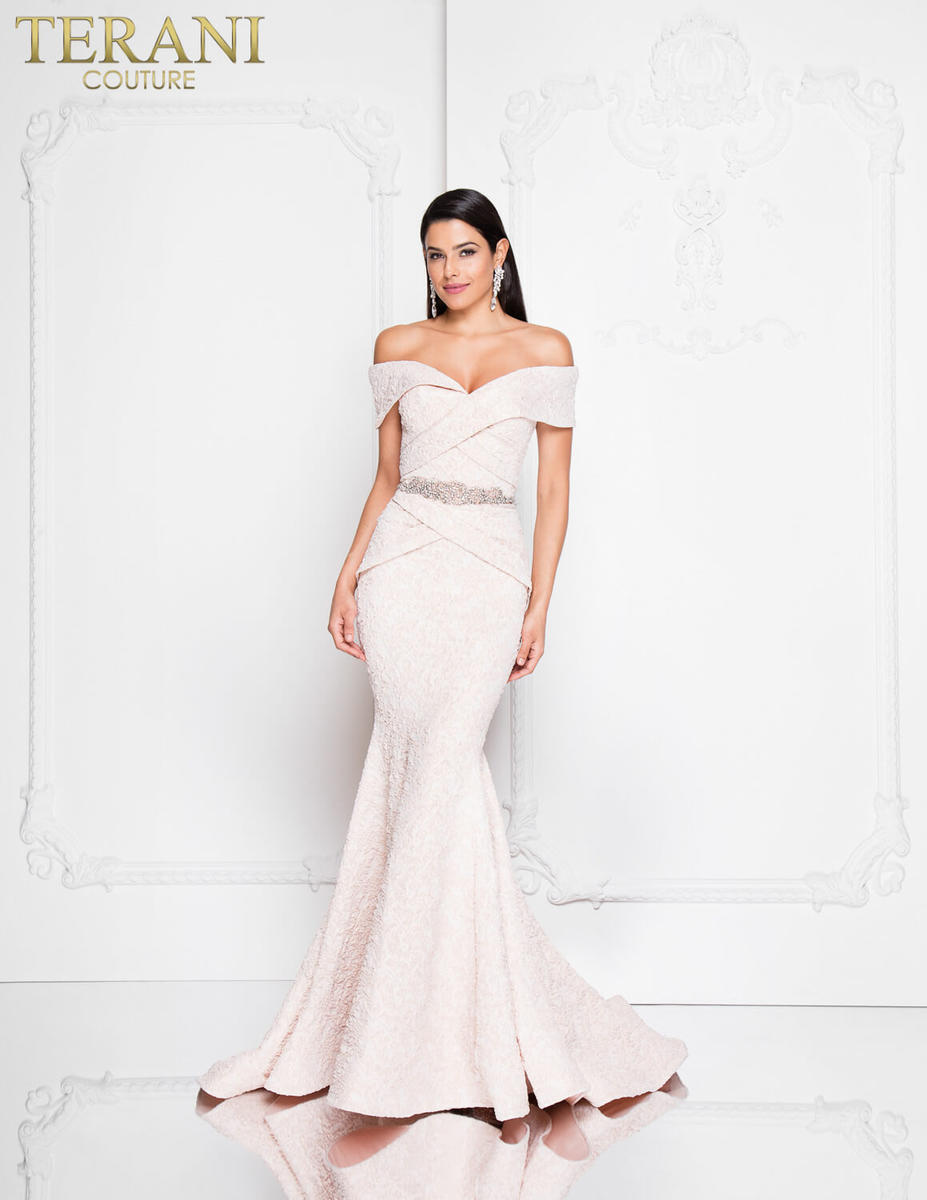 Jersey Metallic Strapless Gown