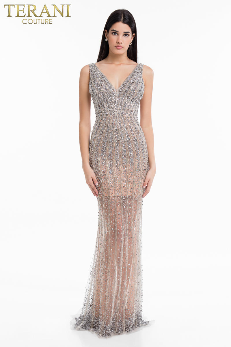 Beaded Gown Tank Open Back
