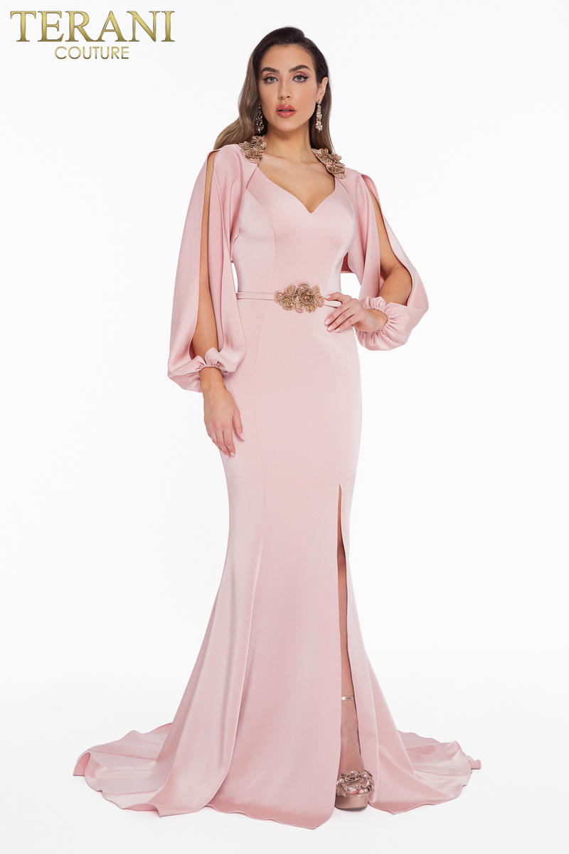 Beaded Two Piece Neck Gown with Cape