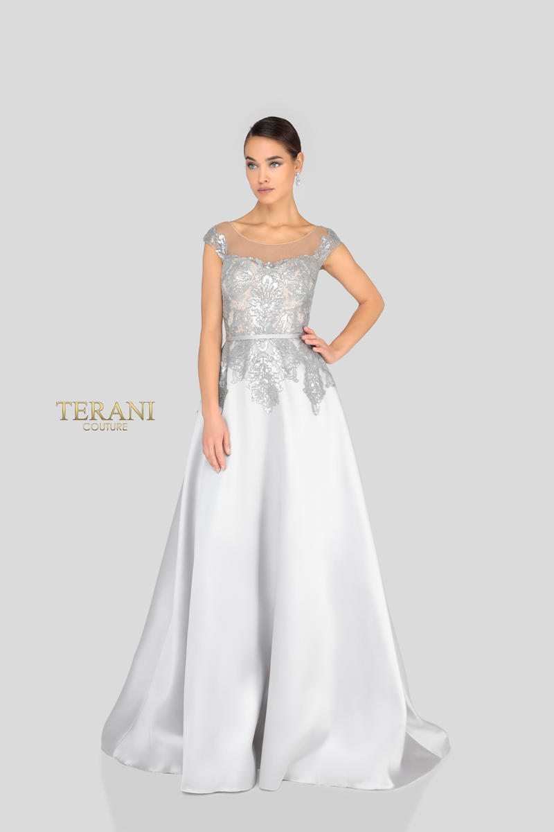 Terani - Satin Gown Embroidered Beaded Bodice