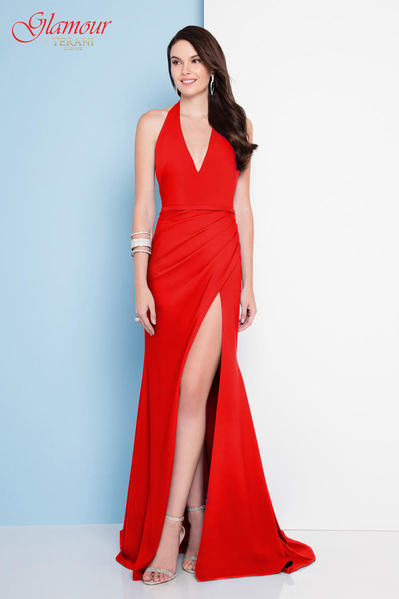 Terani - Satin Gown Halter Neck