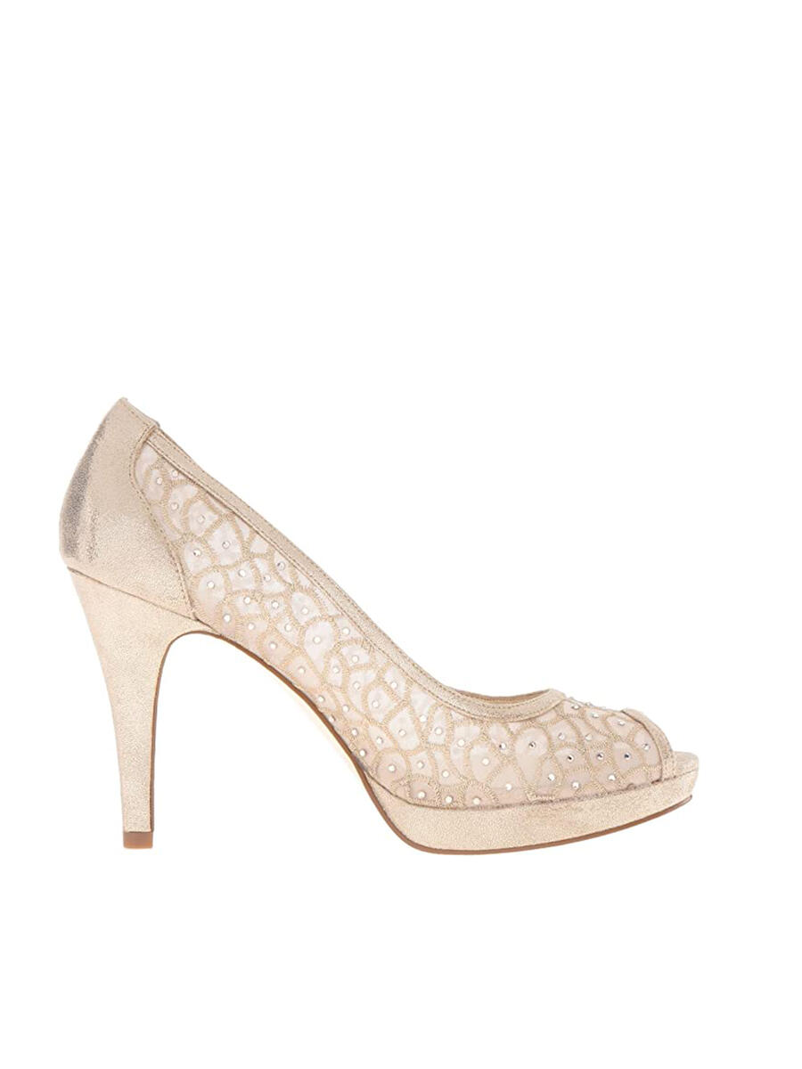 THE SILVERSTEIN  CO.  / ADRIANA PAPELL - Embroidered Mesh Metallic Peep-Toe Pump