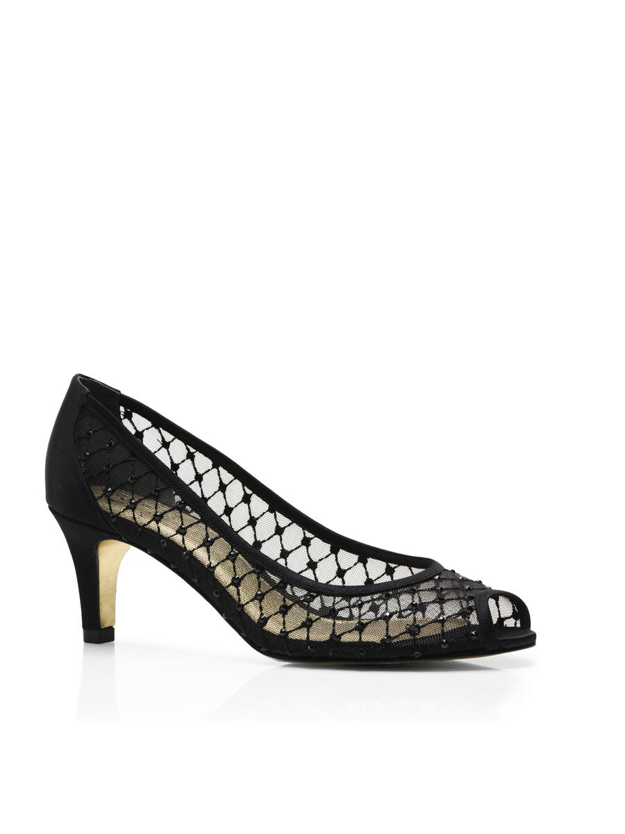 THE SILVERSTEIN  CO.  / ADRIANA PAPELL - Embellished Mesh Low-Heel Peep-Toe